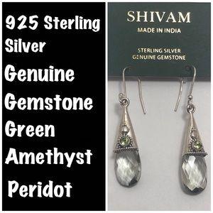 Gorgeous 925 Silver Genuine Gemstone Earrings